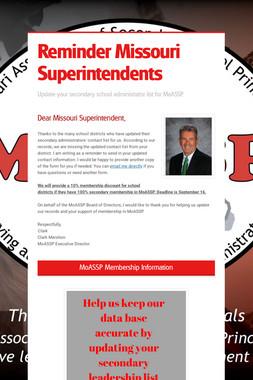 Reminder Missouri Superintendents