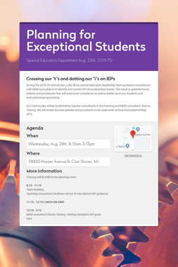 Planning for Exceptional Students
