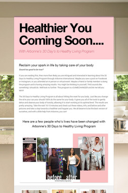 Healthier You Coming Soon....