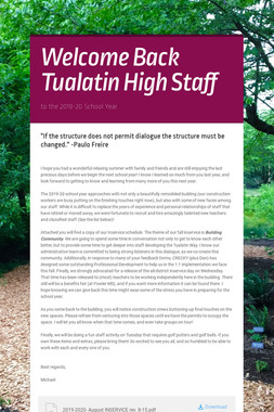 Welcome Back Tualatin High Staff