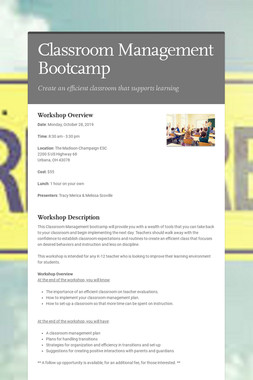 Classroom Management Bootcamp