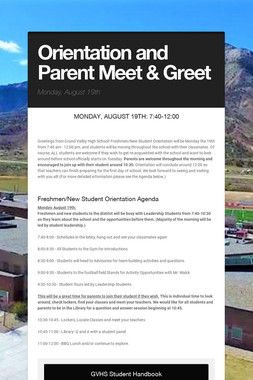 Orientation and Parent Meet & Greet