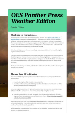 OES Panther Press Weather Edition