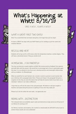What's Happening at Whitt! 8/16/19