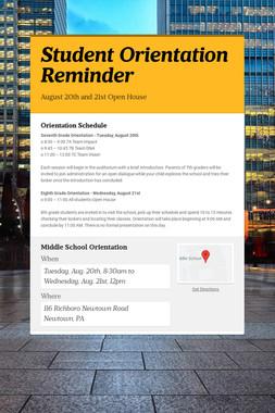 Student Orientation Reminder