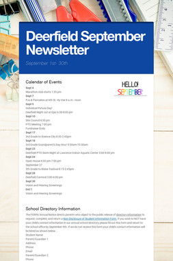 Deerfield September  Newsletter