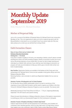 Monthly Update September 2019