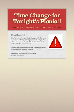 Time Change for Tonight's Picnic!!