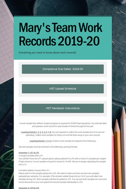 Mary's Team Work Records 2019-20