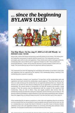 ... since the beginning BYLAWS USED