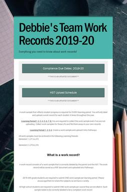Debbie's Team Work Records 2019-20