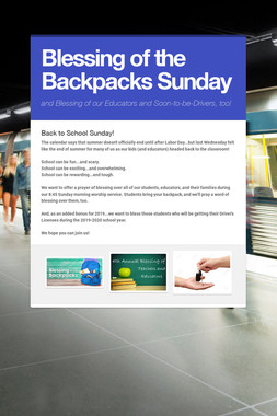 Blessing of the Backpacks Sunday