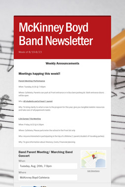 McKinney Boyd Band Newsletter