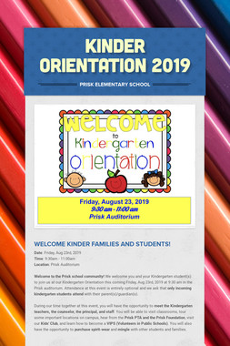 Kinder Orientation 2019