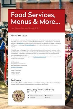 Food Services, Menus & More...