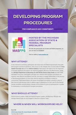 Developing Program Procedures