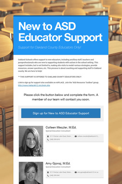 New to ASD Educator Support