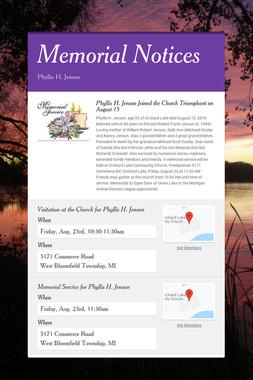 Memorial Notices
