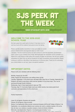 SJS Peek at the Week