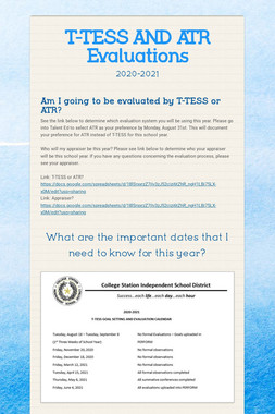 T-TESS AND ATR Evaluations