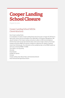 Cooper Landing School Closure