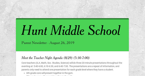 Hunt Middle School | Smore Newsletters