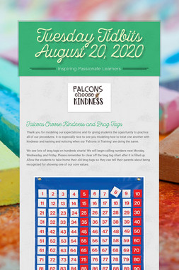 Tuesday Tidbits August 20, 2020