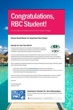 Congratulations, RBC Student!