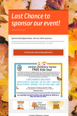 Last Chance to sponsor our event!