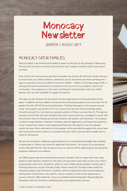 Monocacy Newsletter