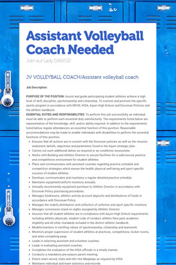 Assistant Volleyball Coach Needed