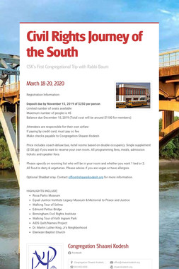 Civil Rights Journey of the South