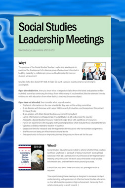 Social Studies Leadership Meetings