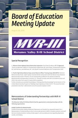 Board of Education Meeting Update