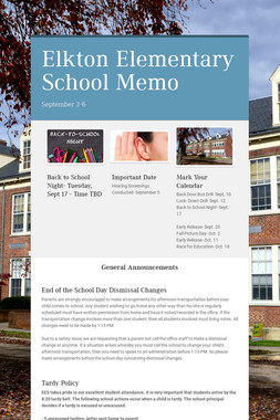 Elkton Elementary School Memo