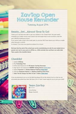 ZavTop Open House Reminder