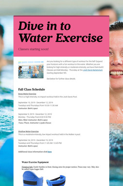 Dive in to Water Exercise