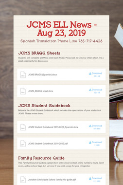 JCMS ELL News - Aug 23, 2019