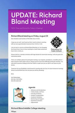 UPDATE:  Richard Bland Meeting
