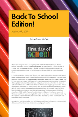 Back To School Edition!