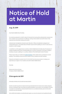 Notice of Hold at Martin