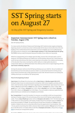 SST Spring starts on August 27