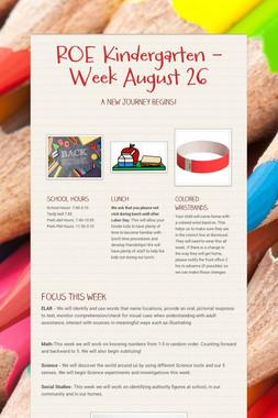 ROE Kindergarten - Week August 26