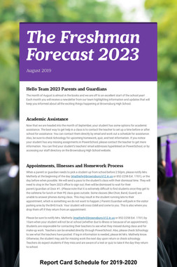The Freshman Forecast 2023