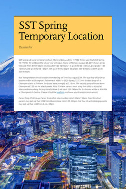 SST Spring Temporary Location