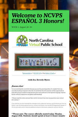 Welcome to NCVPS ESPAÑOL 3 Honors!