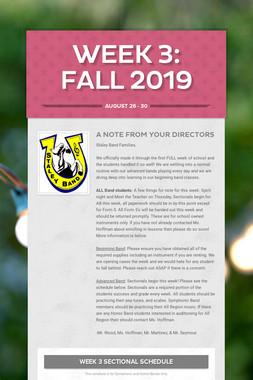 Week 3: Fall 2019