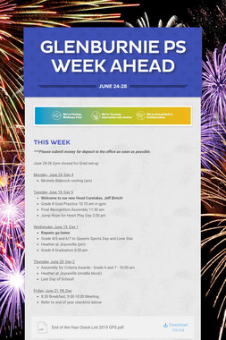 Glenburnie PS Week Ahead