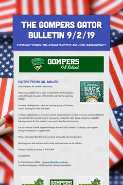 The Gompers GATOR Bulletin 9/2/19