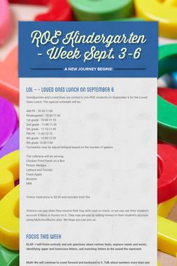 ROE Kindergarten - Week Sept. 3-6